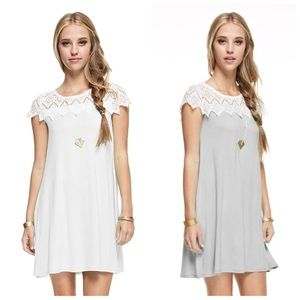 Rayon White or Grey Lace Cape Casual Dress